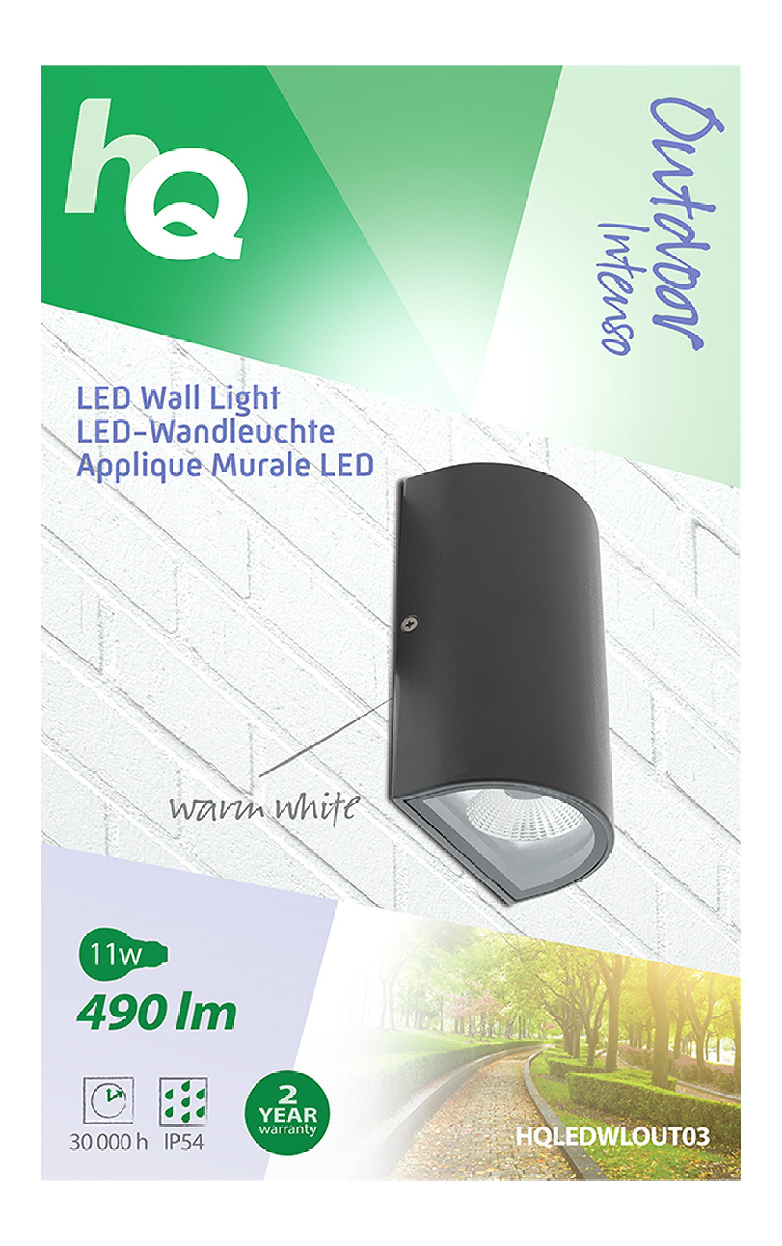 LED Außenwandleuchte 11 W 490 lm Schwarz