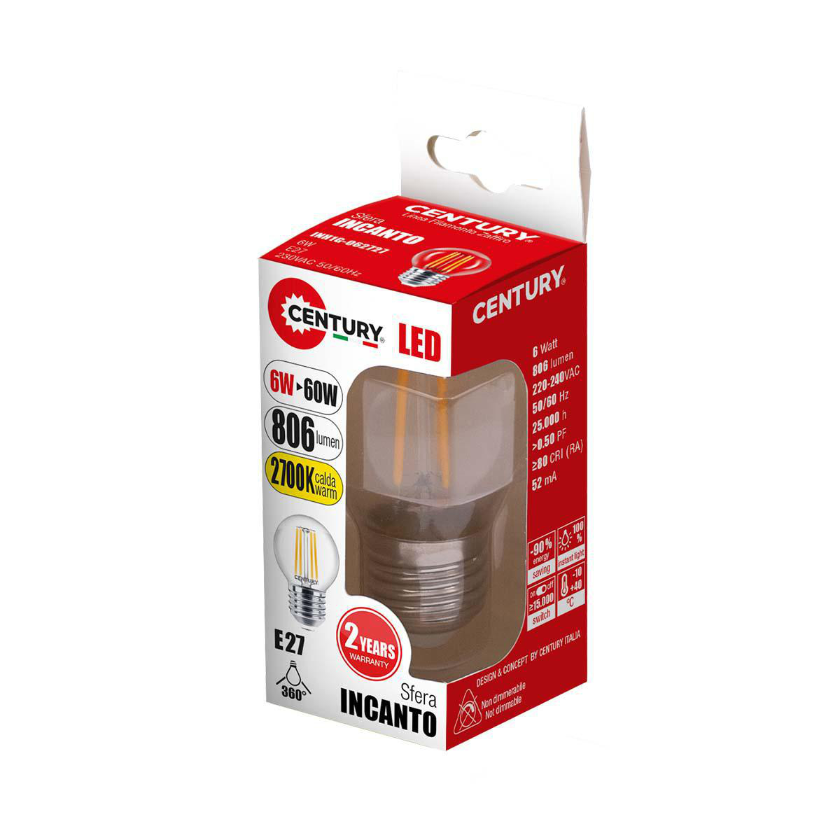LED Vintage Filament Lampe Sfera E27 6 W 806 lm 2700 K