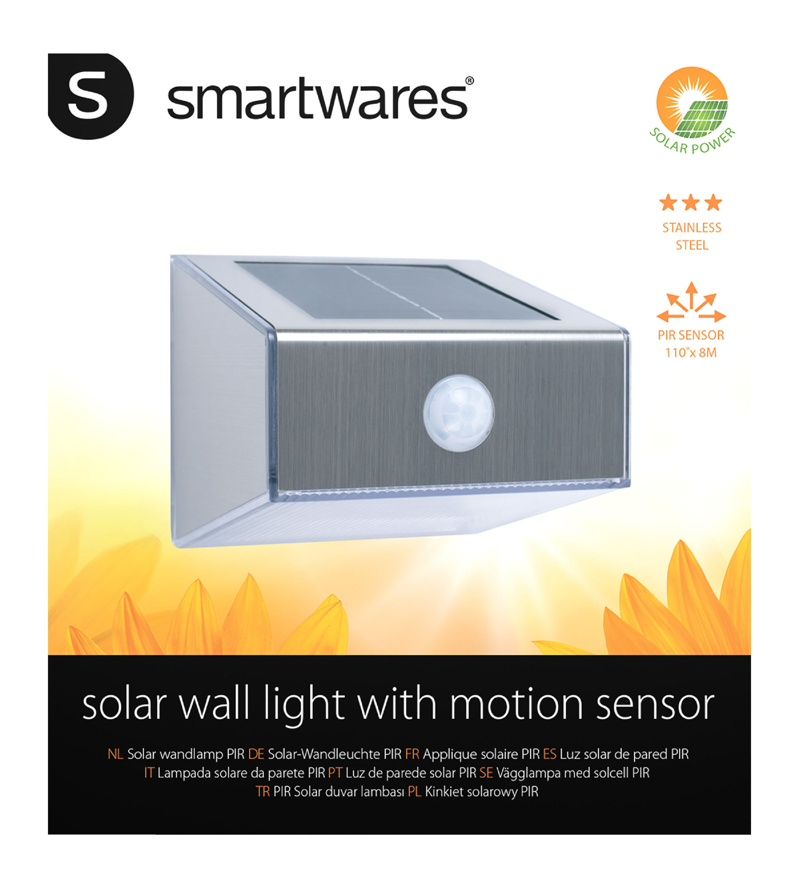 Solar-Wandleuchte LED Grau