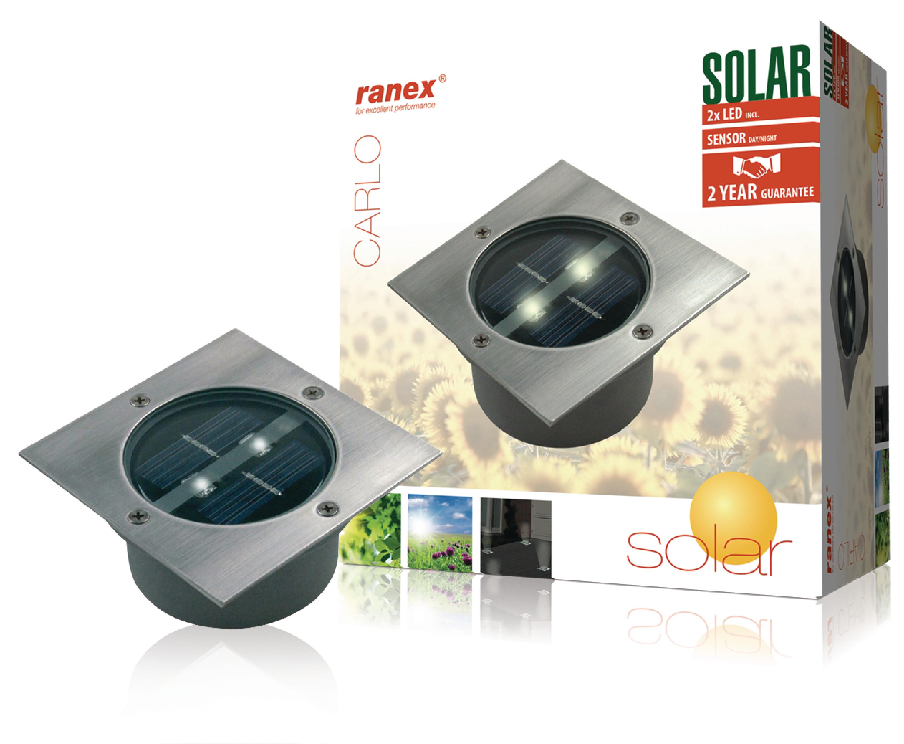 Solar-Bodenstrahler 2 LED Viereck