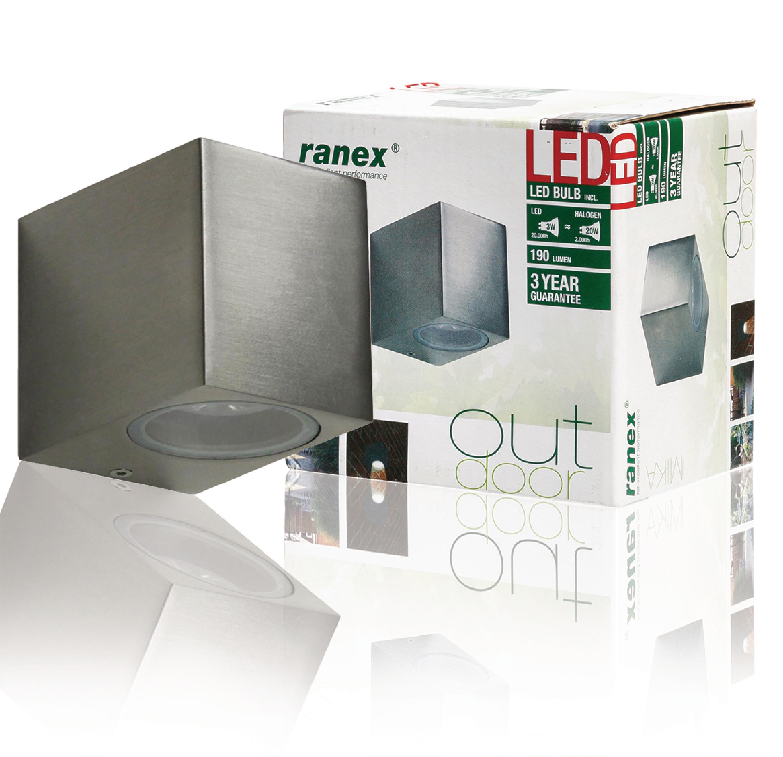LED Außenwandleuchte 3 W 230 lm Gebürstetes Aluminium