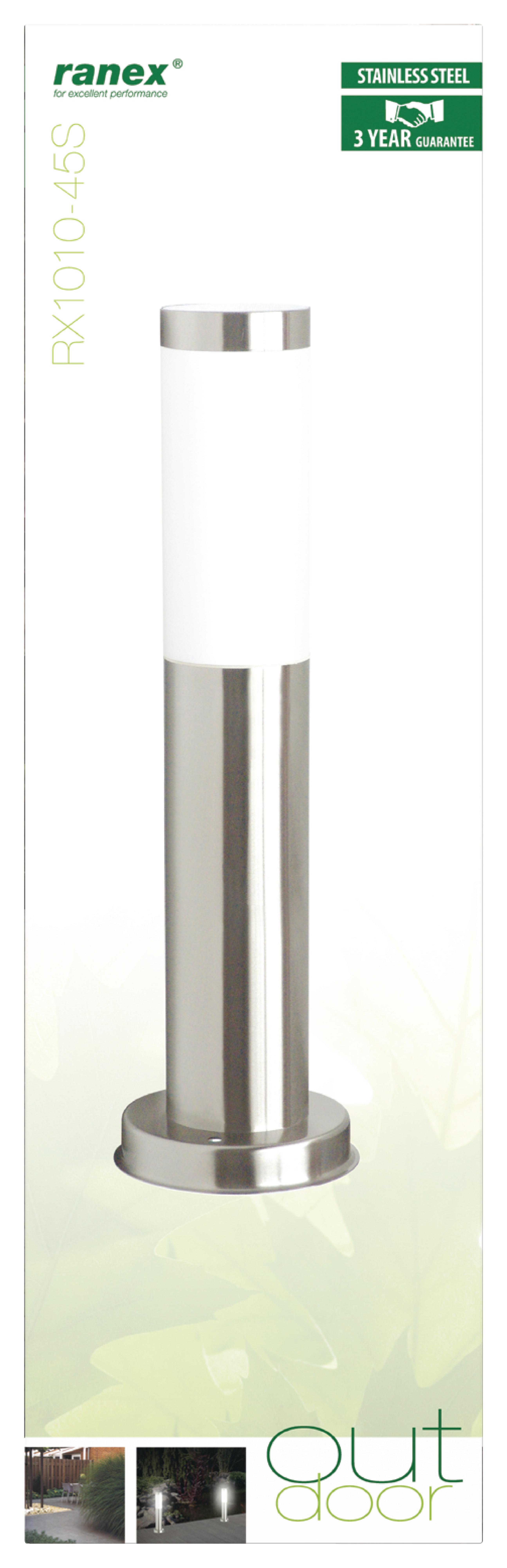 Garten-Pfosten Leuchte 20 W E27 Gebürstester Stahl